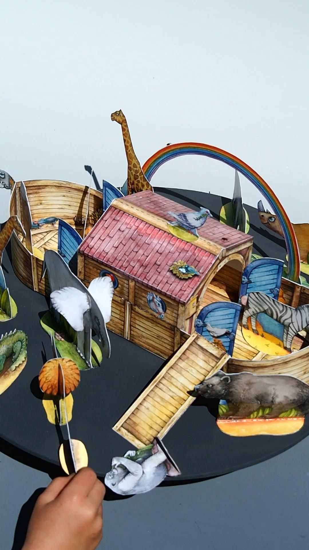 Noah S Ark And Animals Tinker With Children Out Of Paper