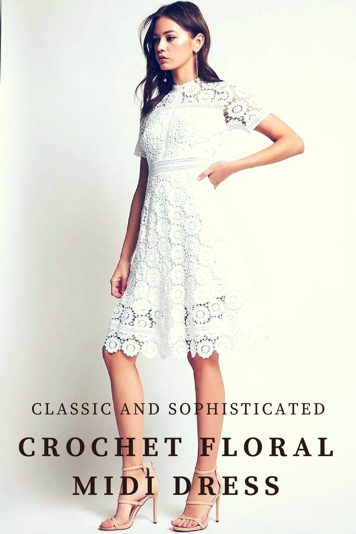 A crochet woven midi dress featuring an allover floral design round
