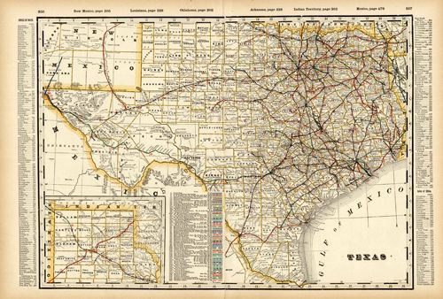 Railroad Map Of Texas.Antique Map Of Texas 1899 Railroad Map By George F Cram Howdy Y All
