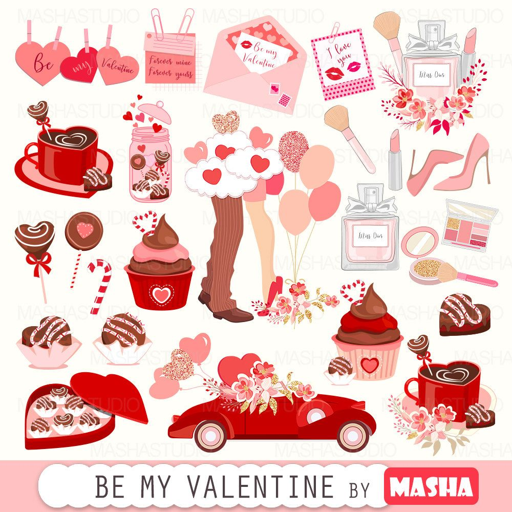 Valentines Clip Art Be My Valentine With Valentine S Day Clipart Romantic Clipart Chocolate Clipart 43 Images 300 Dpi Png Files Valentines Day Clipart Valentine Clipart Valentines Clip