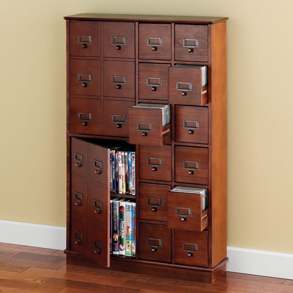 Dvd Storage Solutions the space saving cd/dvd storage cabinet - hammacher schlemmer