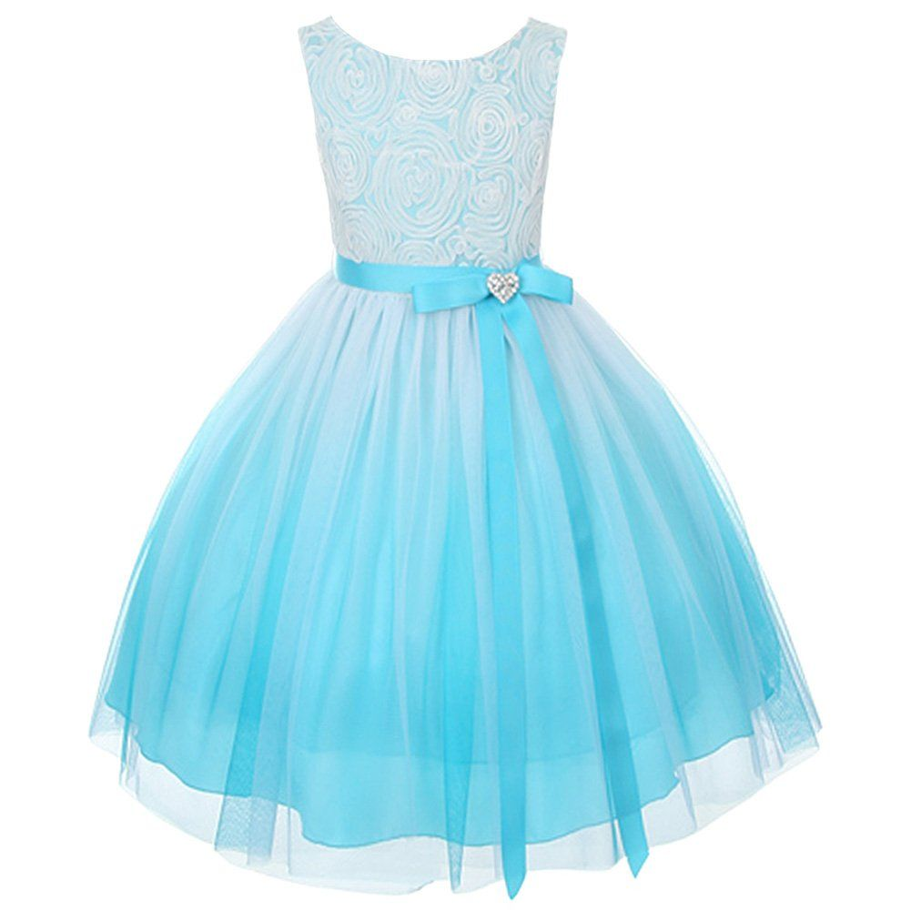 Kids dream turquoise ombre rosette special occasion dress toddler