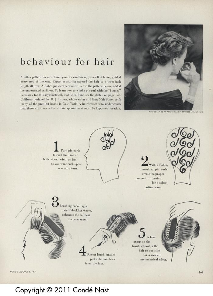 Vogue Aug 1, 1953 setting pattern | 1940s Hair