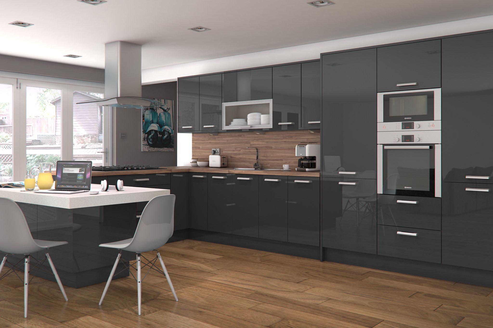 Innova Altino Graphite High Gloss Kitchen Modern Kitchen Interiors Modern Kitchen Interior Design Kitchen