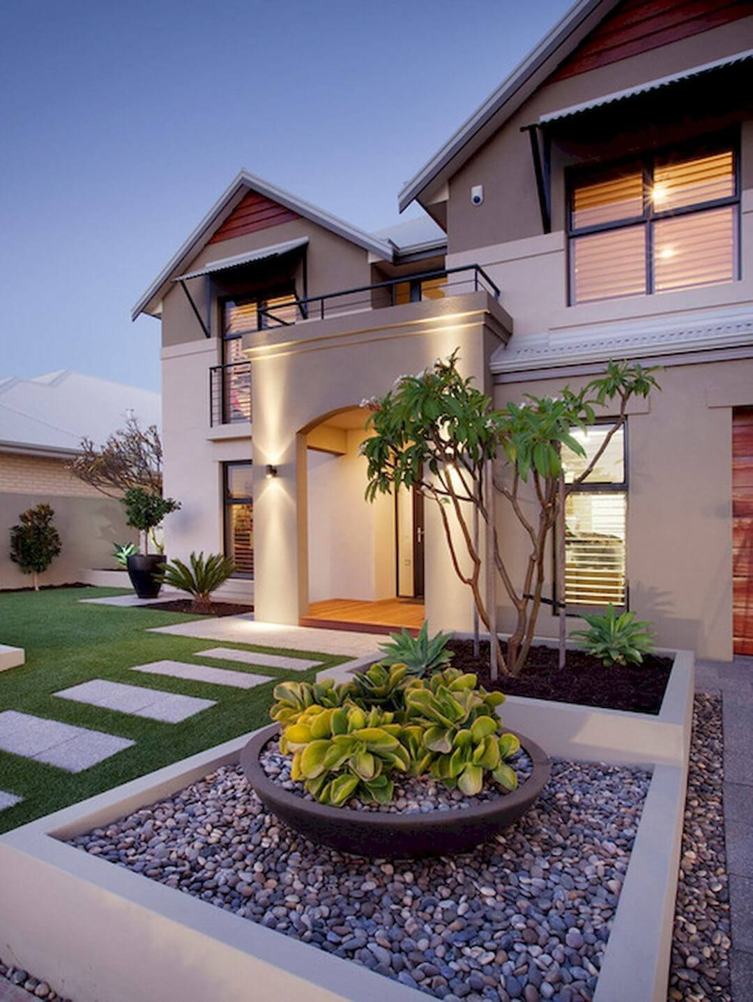 Stylish Front Yard Landscaping Ideas For Modern Houses Harptimes Com Front Yard Landscaping Design Modern Front Yard Front Yard Garden Design