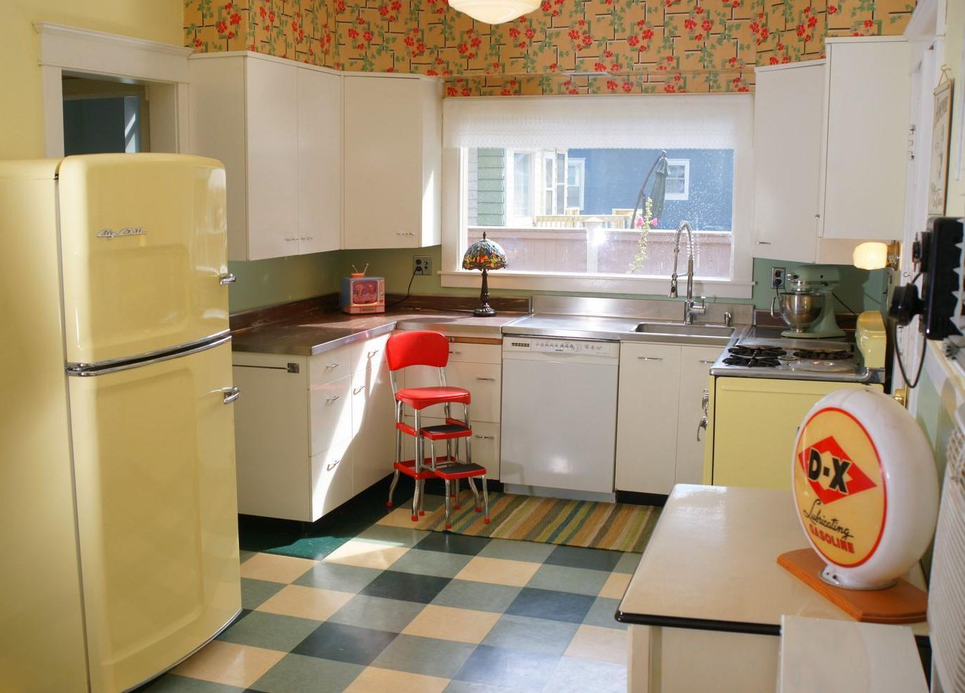 Retro Kitchen Flooring Vintage Kitchen With Big Chill Refrigerator In Buttercup Yellow