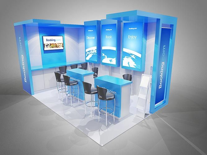 Exhibition Stall Booking In : Colour render for booking.com exhibition stand. 3d renders