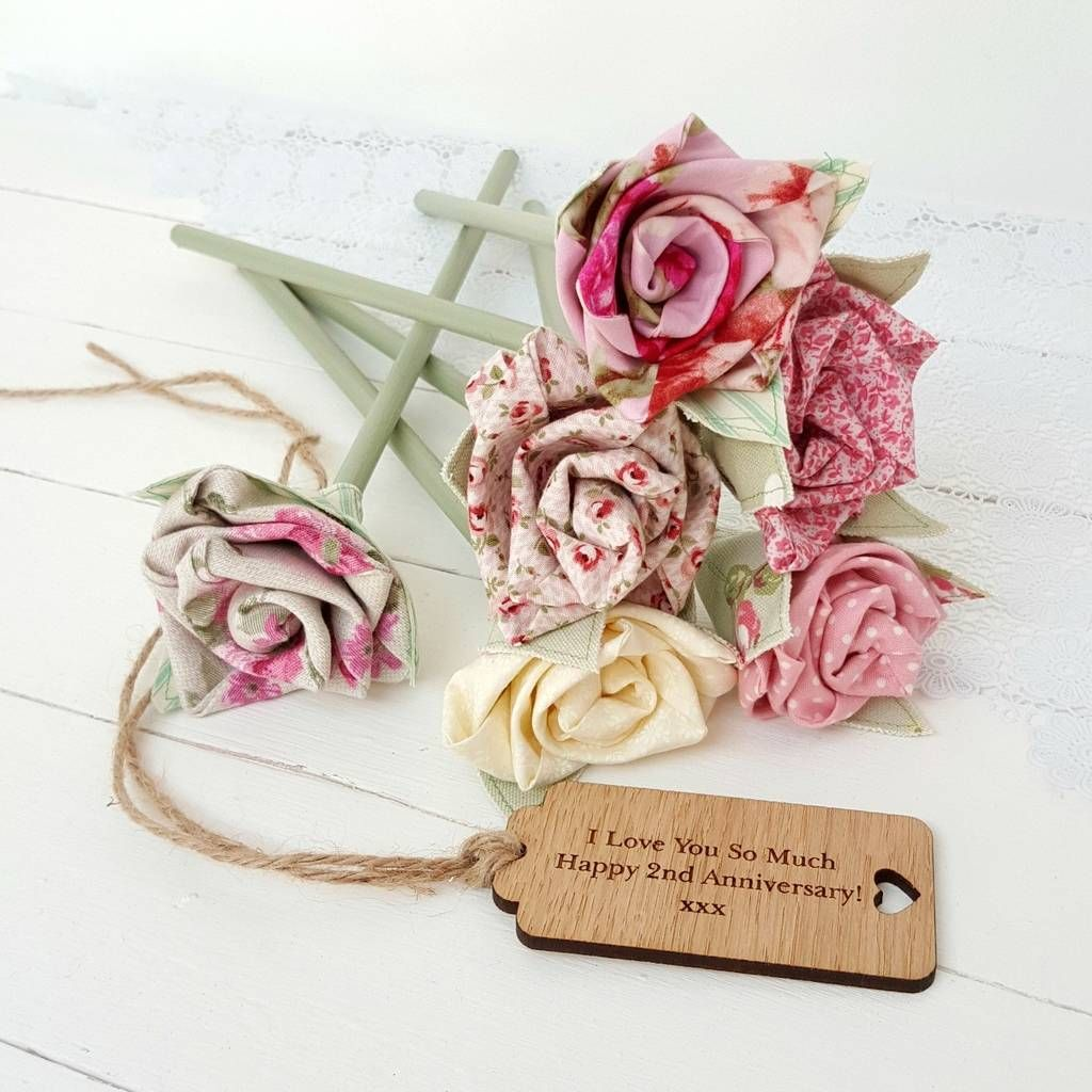 Handmade Cotton Anniversary Flowers Engraved Tag Option 2nd