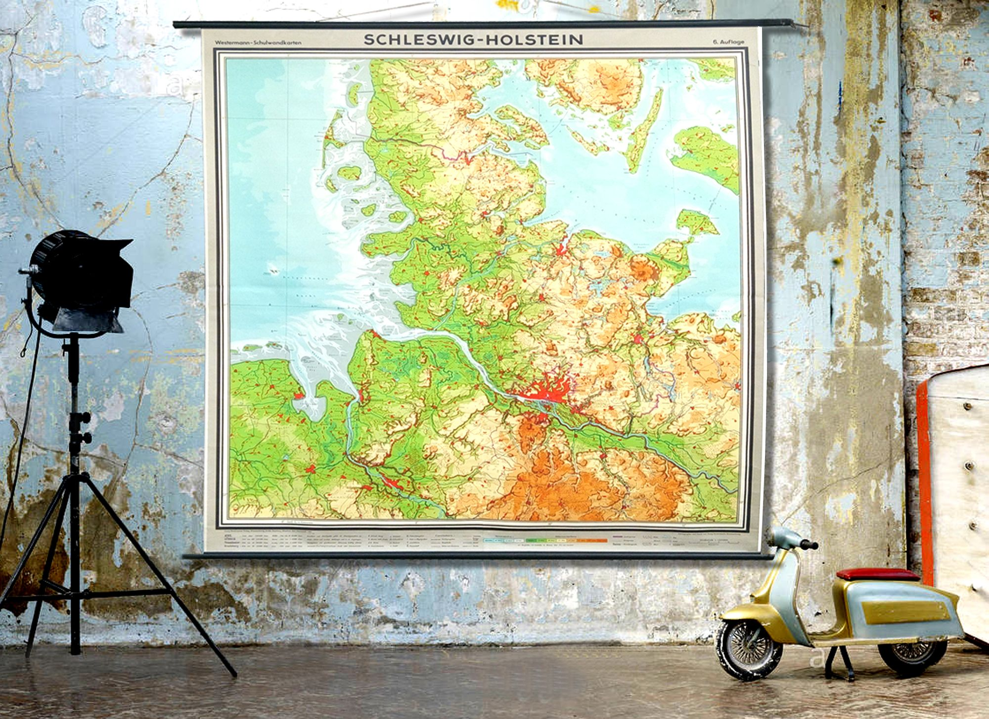 Giant Vintage Wall Map. 1960s German Educational School Canvas ...