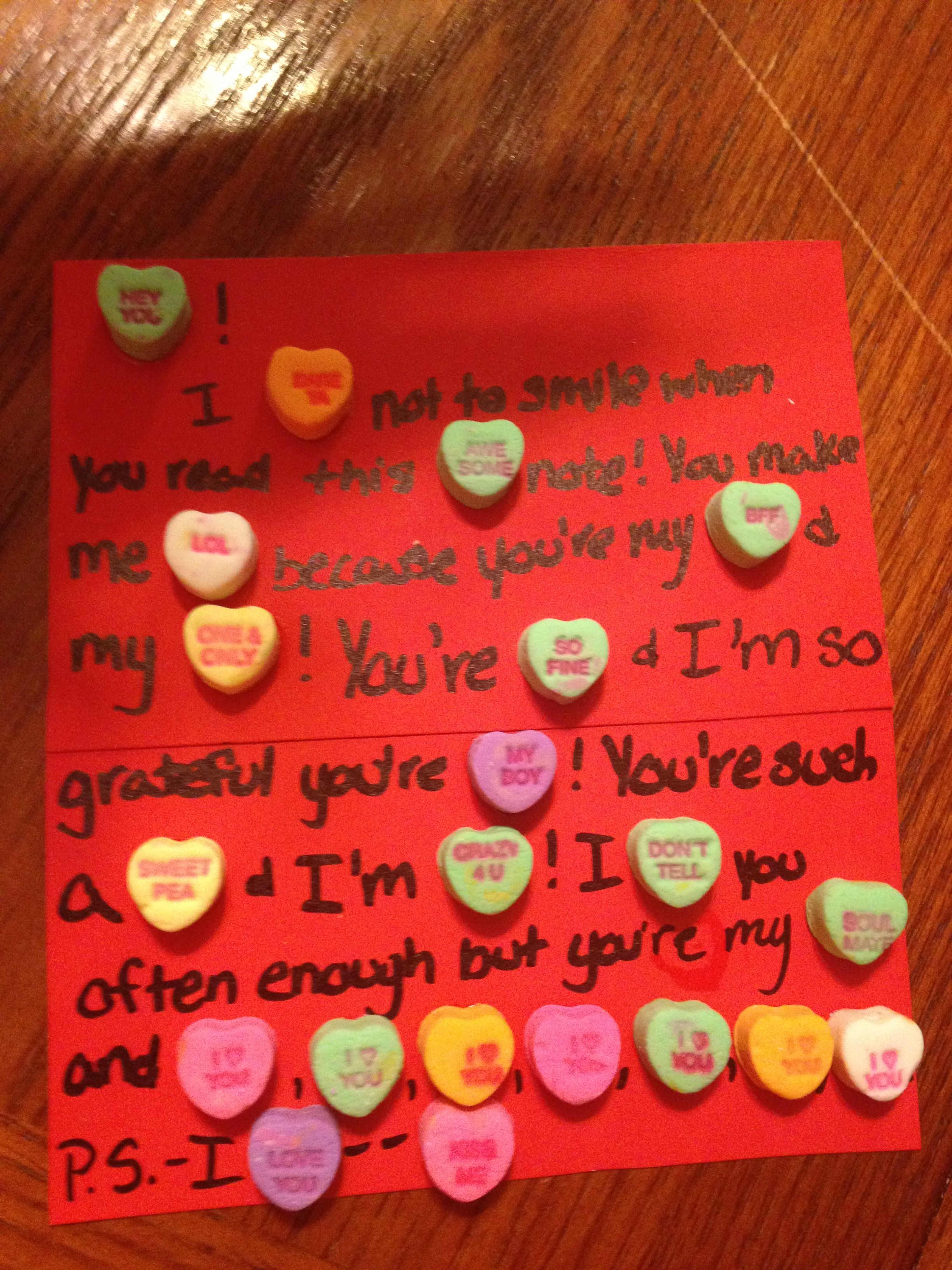 Make a sweet card using the sweethearts(that no one likes) for your ...