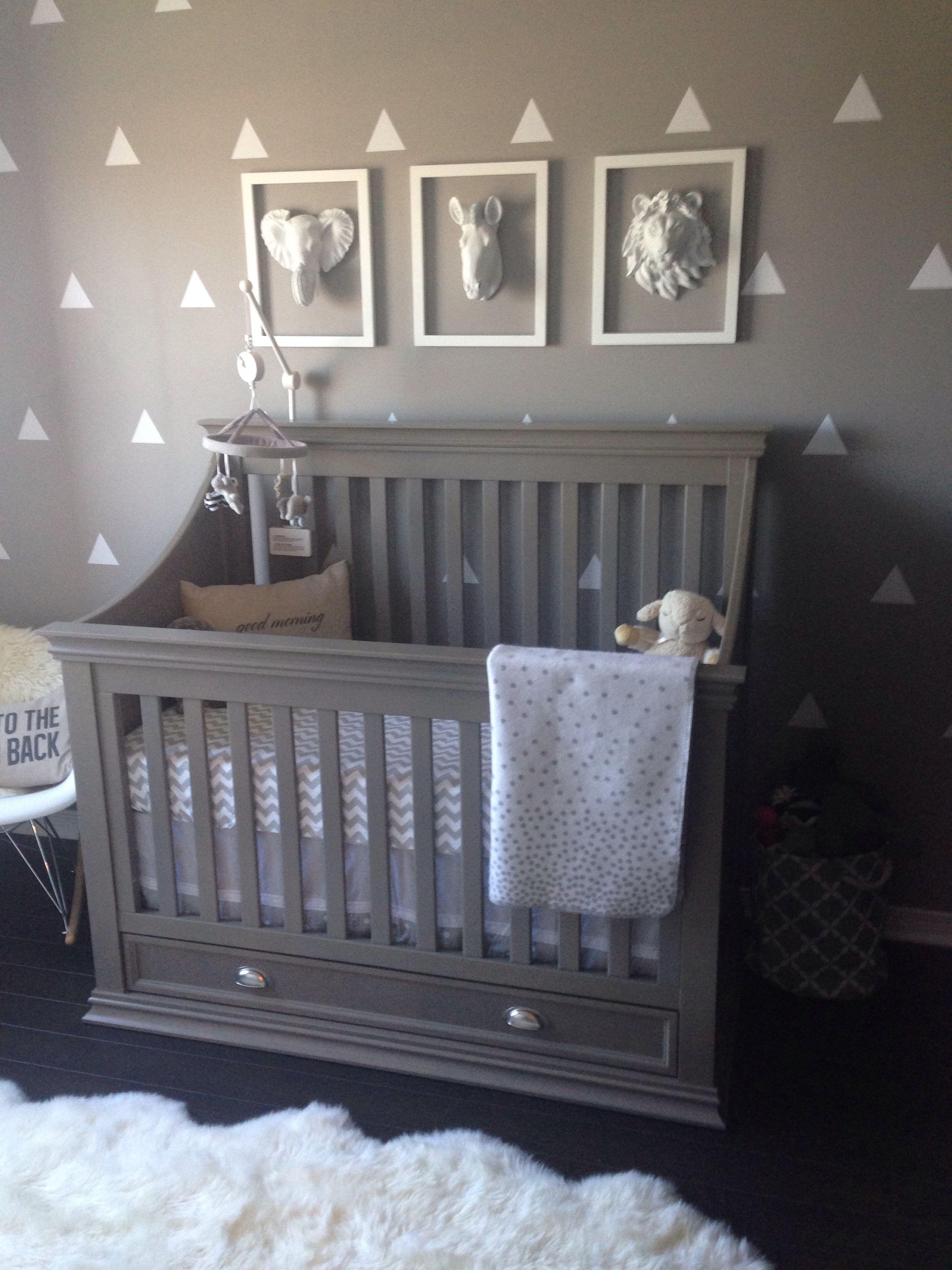 Grey Nursery Modern Rocking Chair Grey Crib Wall Decals