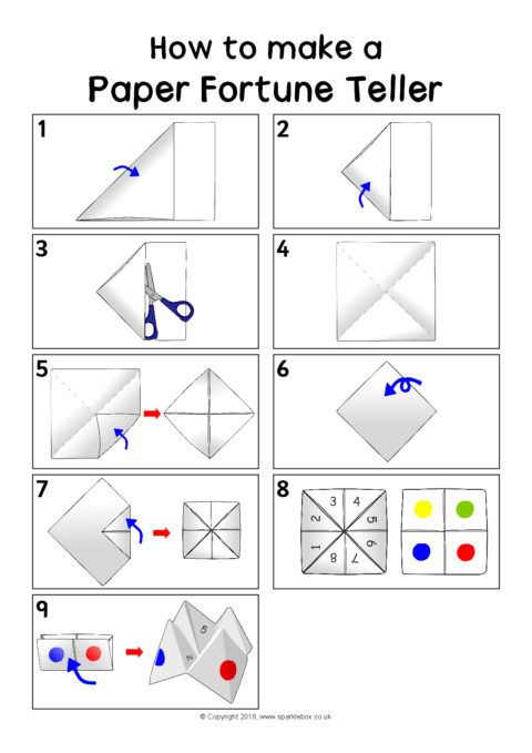 How To Make A Paper Fortune Teller Instruction Sheet Sb12405