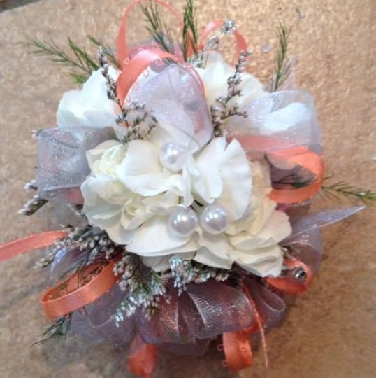 carnation wrist corsage by Memories in Bloom