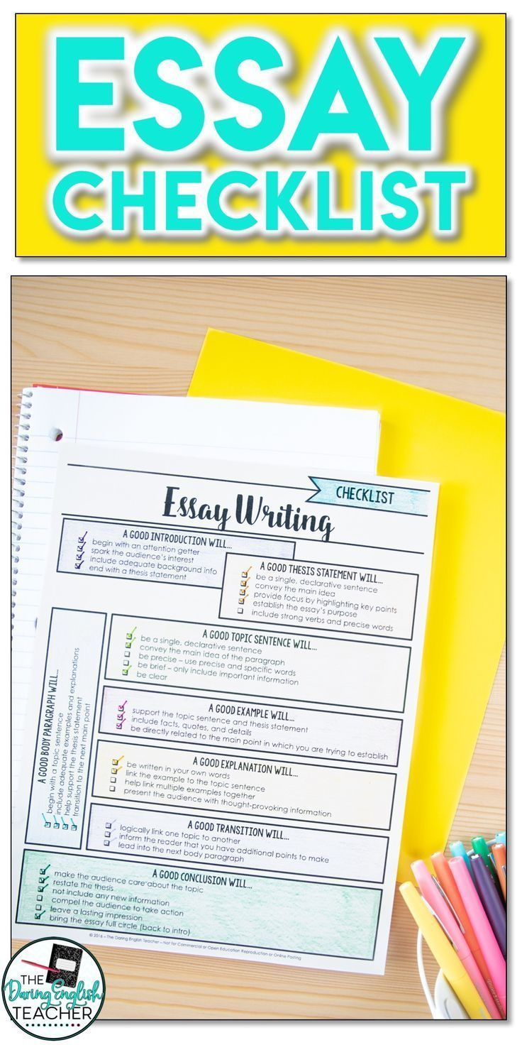 FREE Comprehensive Essay Checklist in 2020 High school