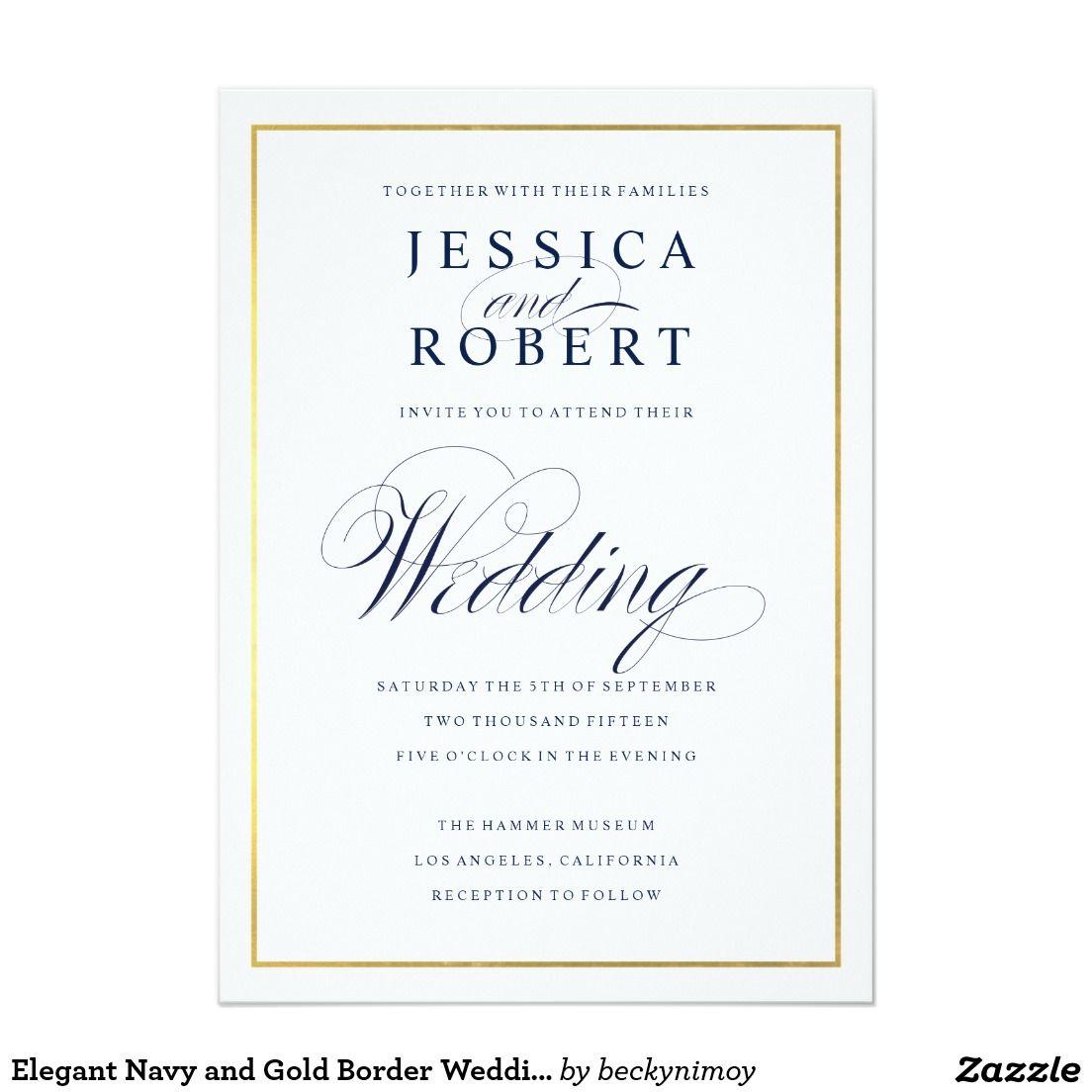 Elegant Dark Navy Faux Gold Border Wedding Invitation | Pinterest ...