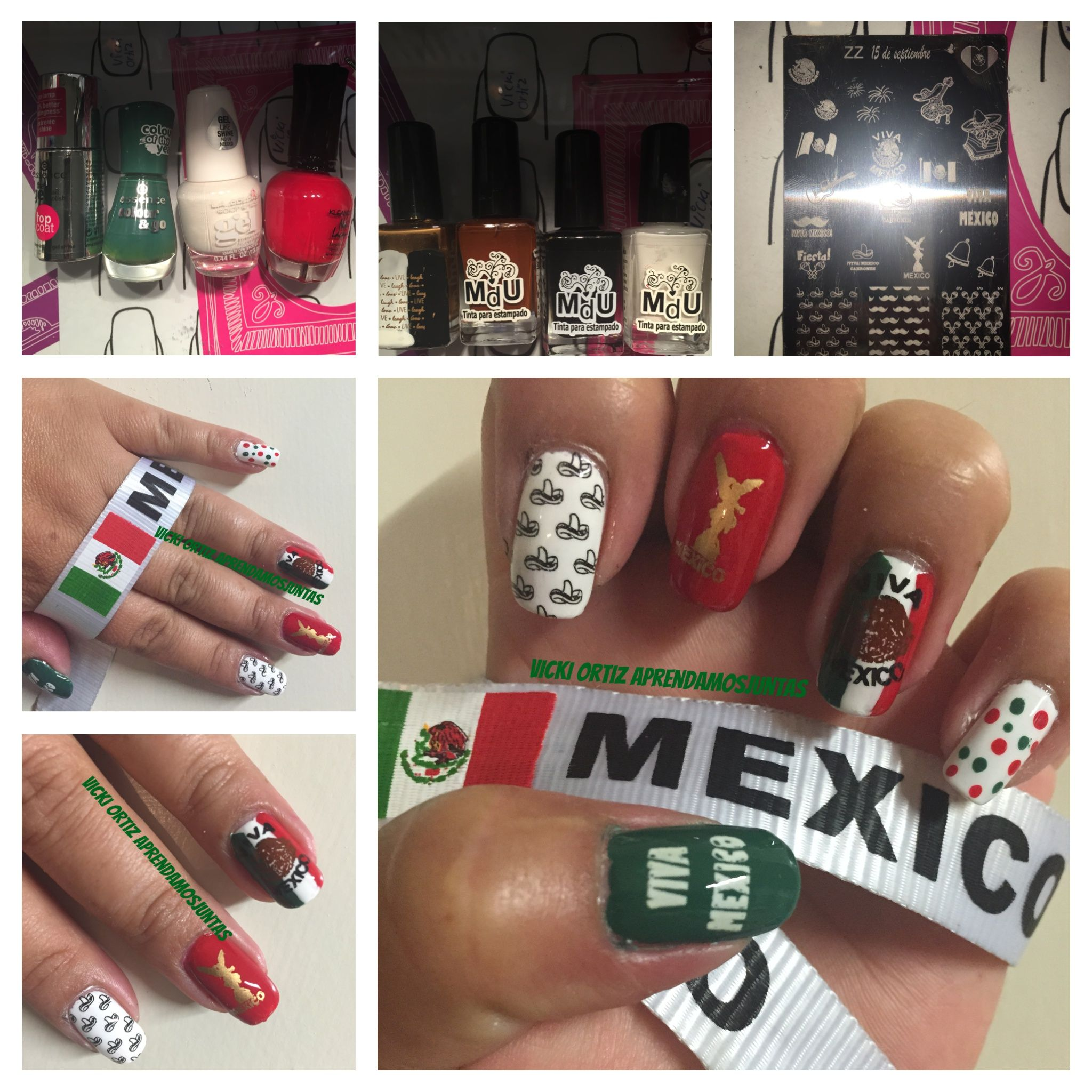 Diseño de uñas viva México 15 de septiembre   Uñas Con diseños ...
