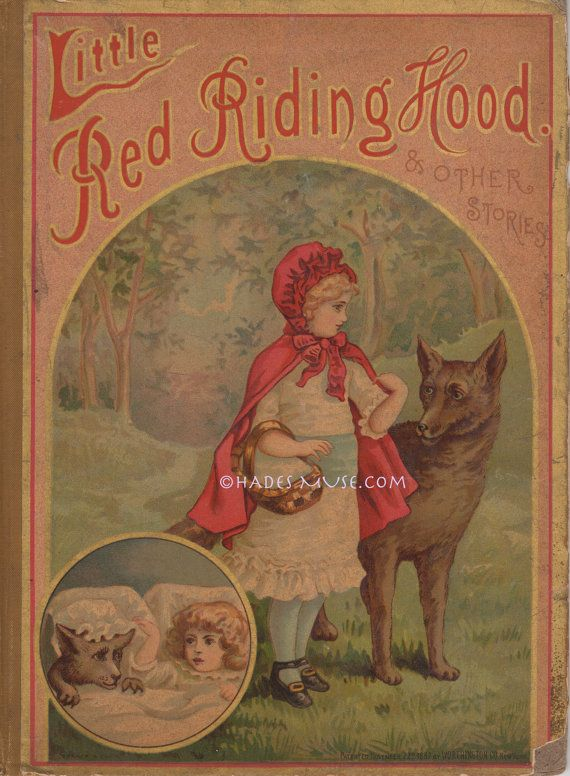 Little Red Riding Hood Big Bad Wolf Book Cover 1887 Antique