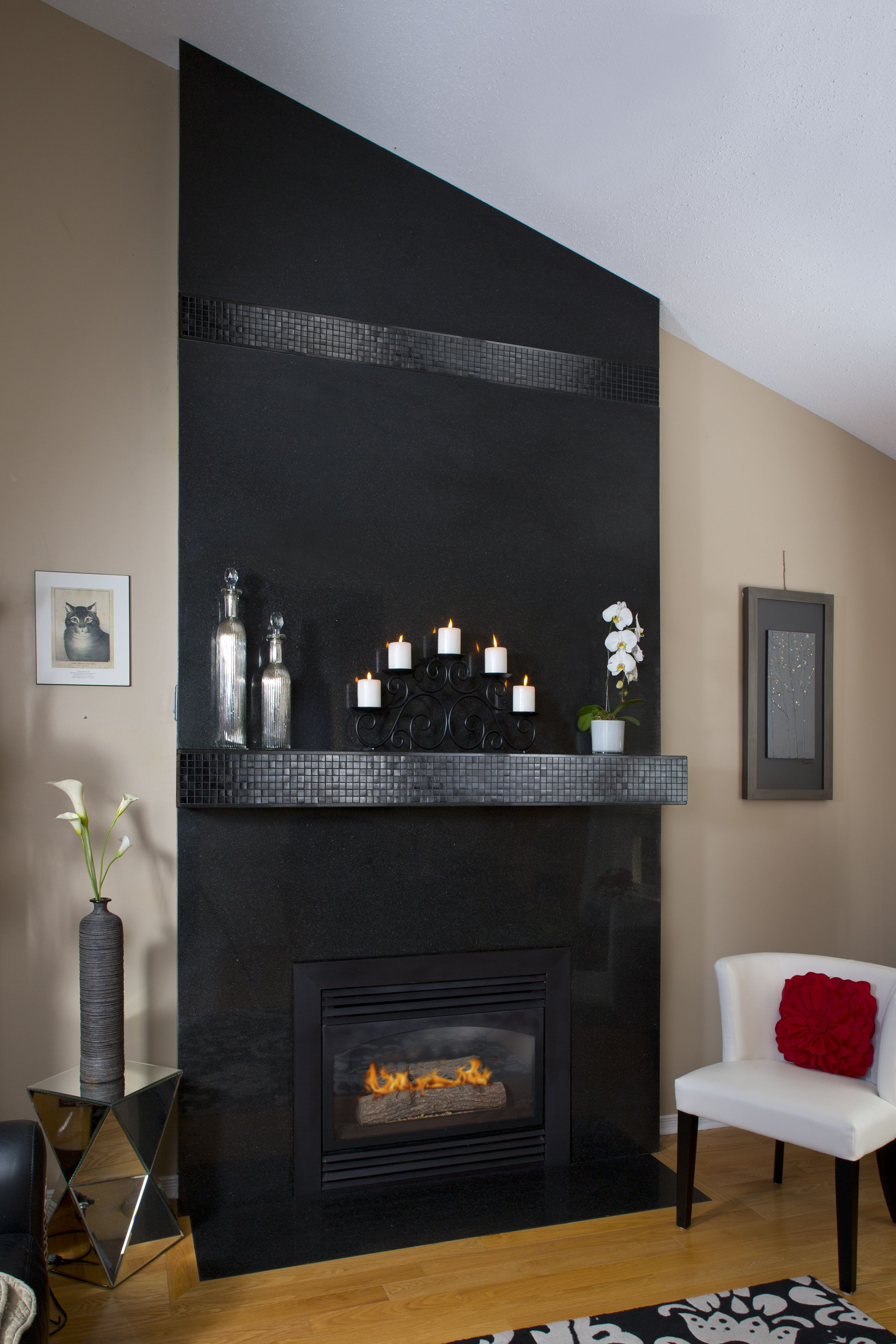 This Fireplace Surround Is Made Of Floor To Ceiling Granite With An Added Touch High End Mosaic