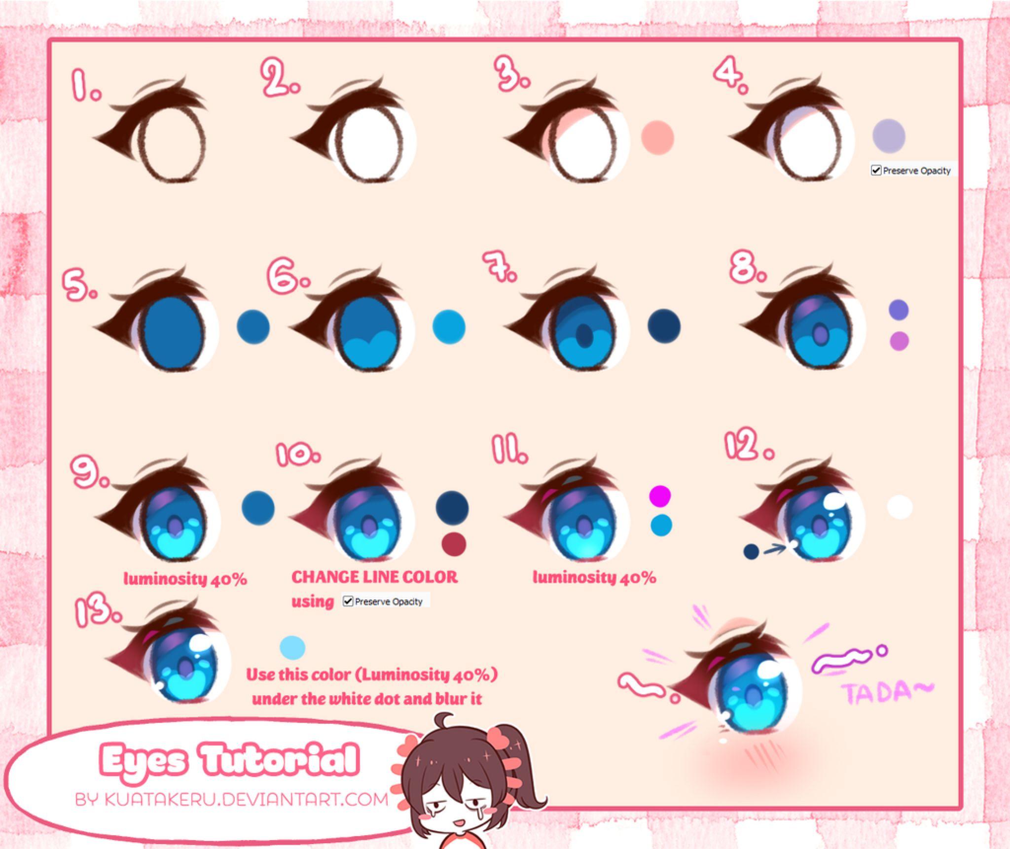 Tutorial Eyes Coloring By K U A On Deviantart Eye Drawing Eye Drawing Tutorials Anime Drawings Tutorials