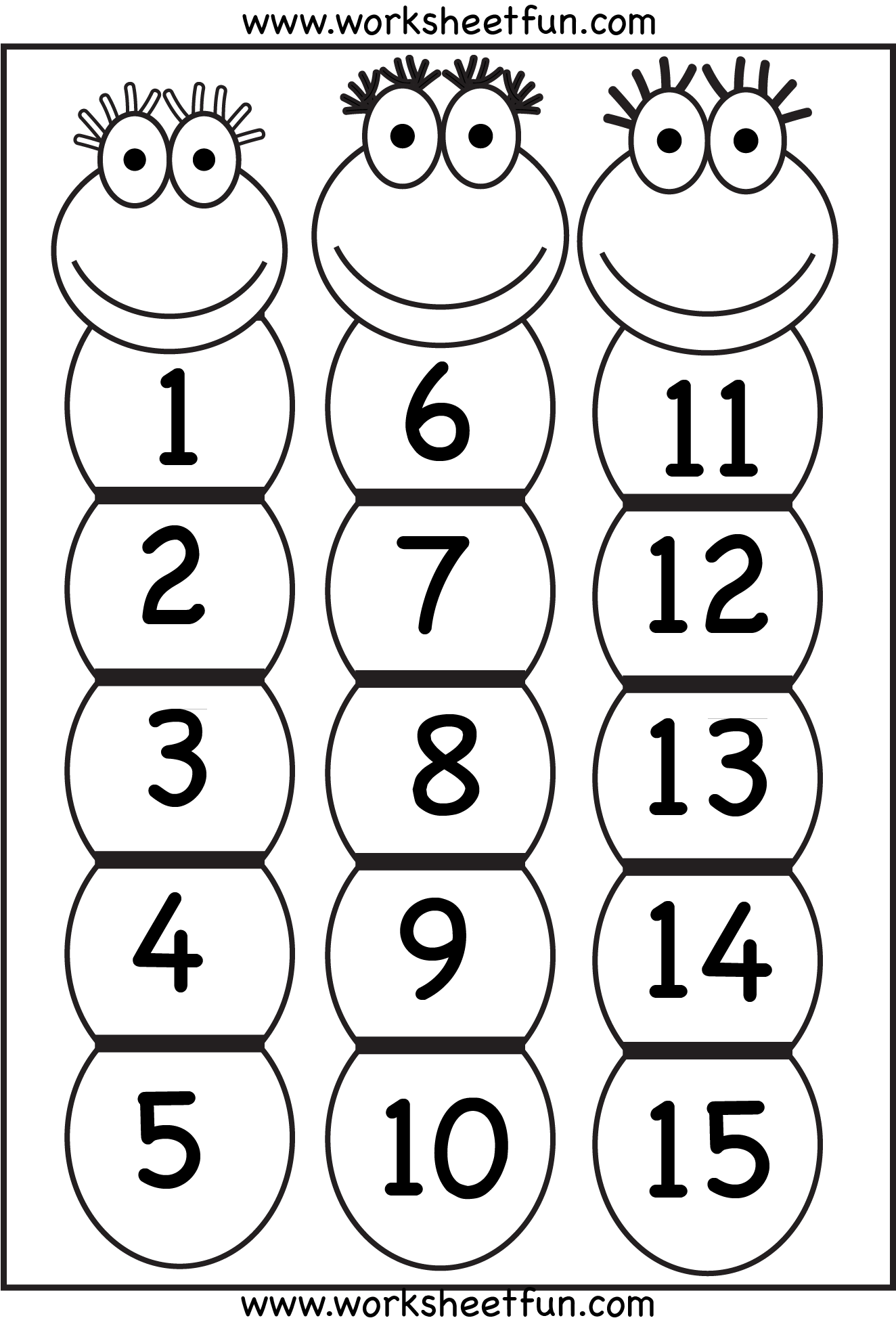 Number Chart 1 15 With Images
