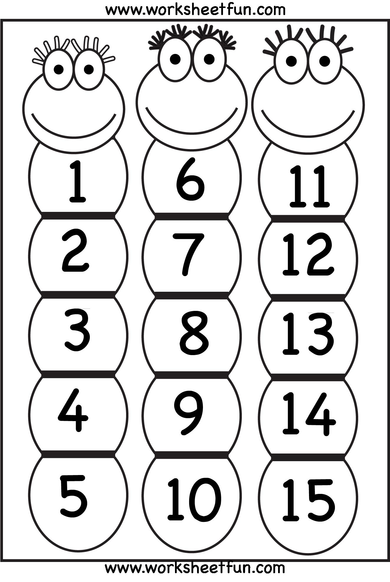 Number Chart 1 15 Printable Worksheets Pinterest Numbers