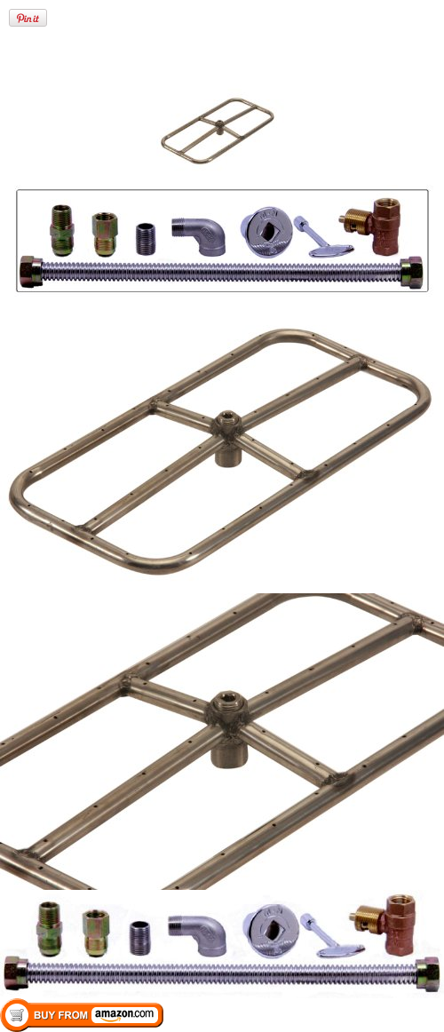 18 x 9 Stainless Steel Rectangle Fire Pit Burner Kit, Start building your custom fire pit today! Included in this kit is everything you need to put together an in-ground or above-ground match lit fire pit: a fire ring, plumbing, fittings, valve and a pol..., #Outdoor Living, #Fire Pits & Bowls, http://www.pylinks.com/store/item-B007ZT8LNW