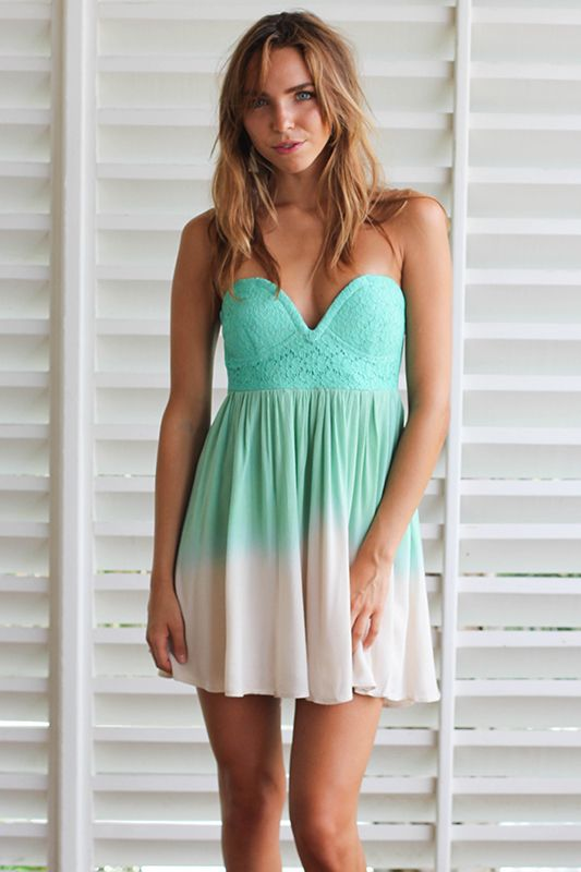 Lace Bustier Dress in turqoise and caicos