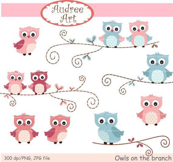 Pink Owl Clip Art   Owls clip art , cute owls clip art, pink Owls, pink and blue owls ...