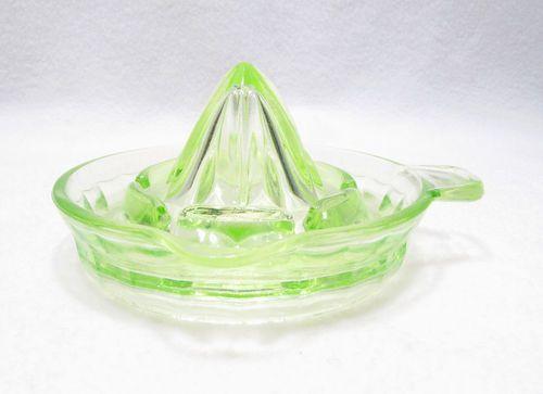 Vintage Green Depression Glass Citrus Juicer