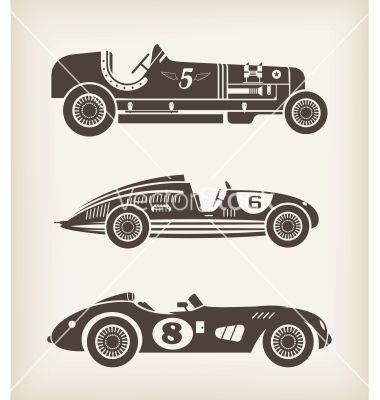 Vintage Sport Racing Cars Vector Boys Room Project Car