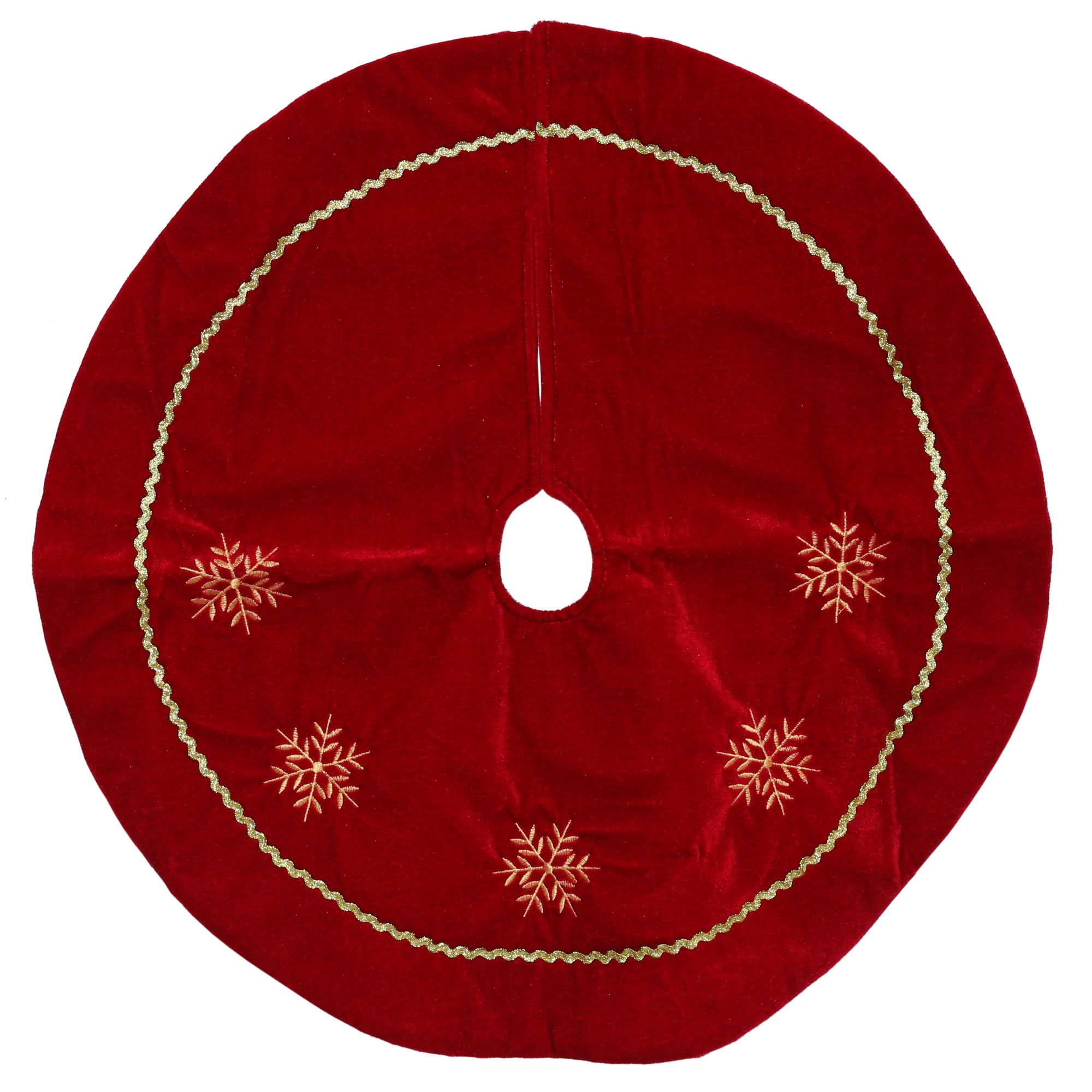 "24"" Red and White Snowflakes Christmas Tree Skirt"