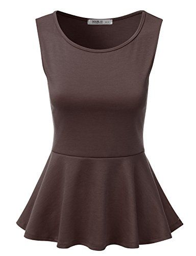 J.TOMSON Women's Short Sleeve And Sleeveless Fitted Peplum Top