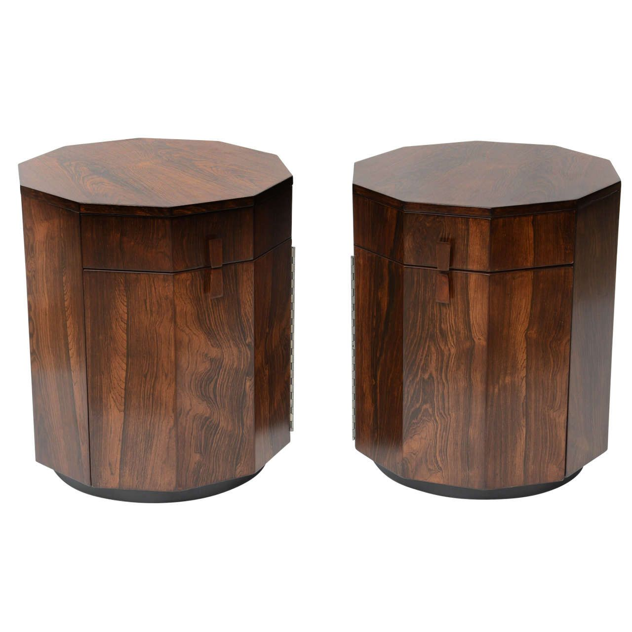 Pair of Harvey Probber Rosewood End Tables with Storage Space