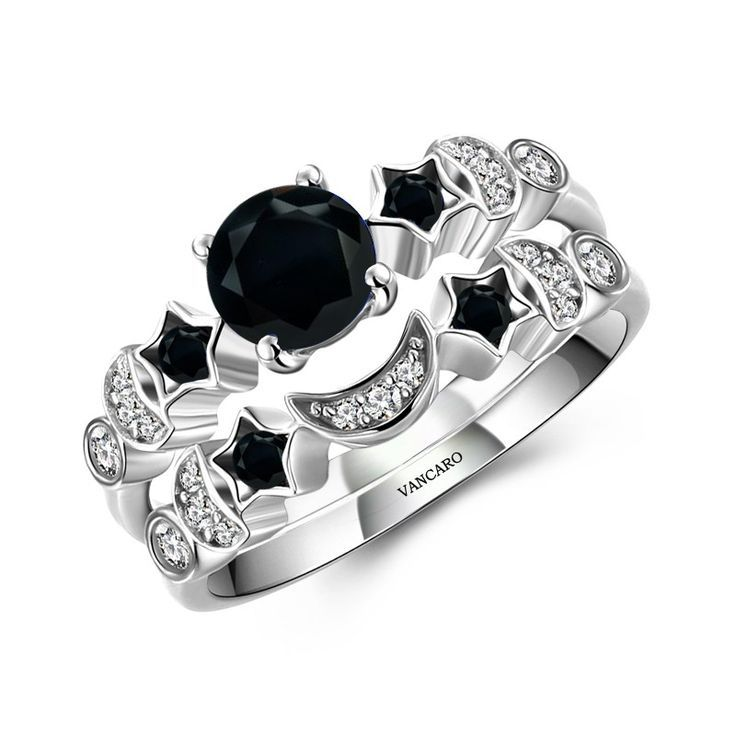 Vancaro - Moon and Star Theme Black Lab-created Diamond Women s Wedding  Ring Set 96f4c6fb7