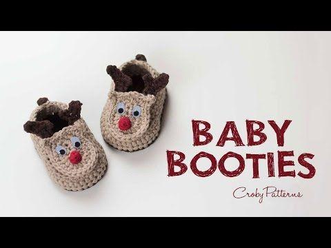 How to Crochet Reindeer Baby Booties Easy Tutorial | Croby Patterns ...