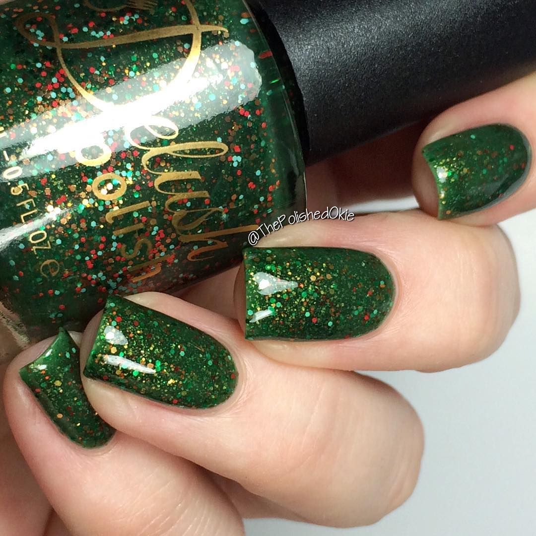 """delush polish """"round of a-clause"""" {a green jelly base packed with"""