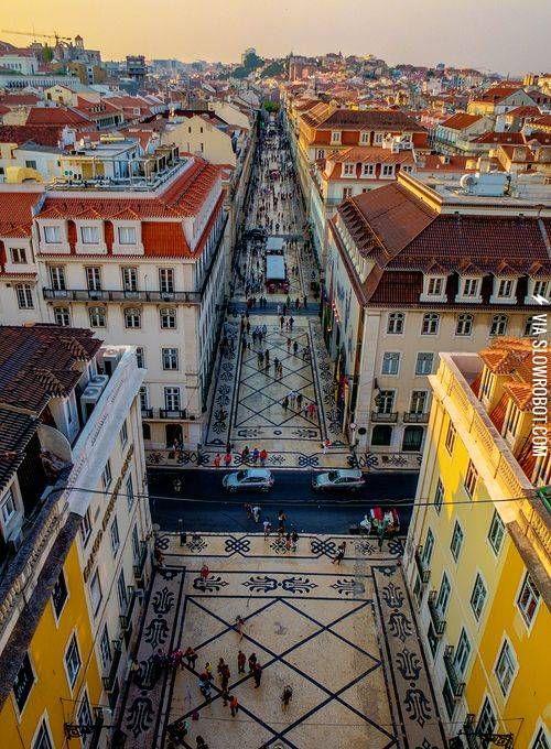 Pedestrian street in Lisbon, Portugal.
