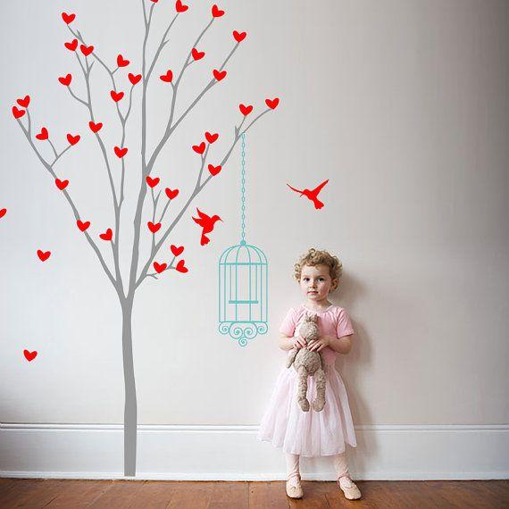 Vinyl muur Decal vogelkooi en hart boom boom muur door FabDecals