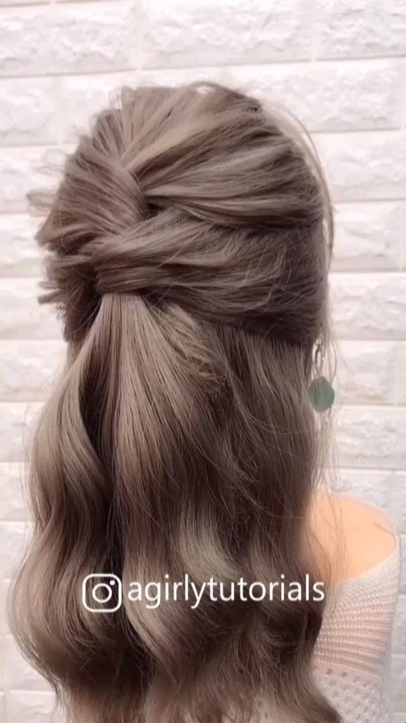 DIY Long Half Up Half Down Prom Wedding Hairstyle Tutorial