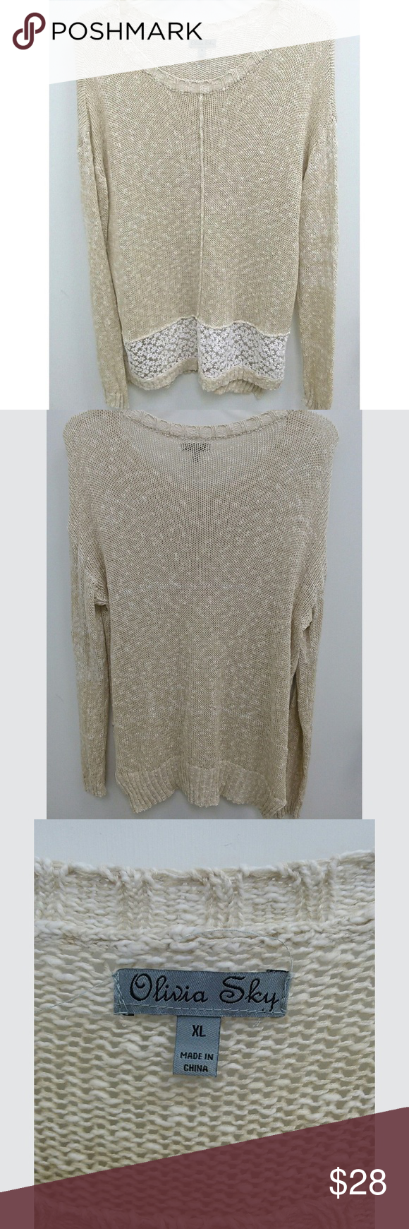 Olivia Sky XL Sweater Tunic Cream Lace Floral Olivia Sky Womens XL Sweater Tunic Cream Lace Floral Breathable Long Sleeve  This is a cream and white sweater tunic by Olivia Sky. Lace at front bottom with daisy pattern. Long sleeves, round neckline, pullover.   Size Plus XL Measures: Chest armpit to armpit laying flat 23