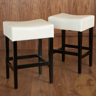 Lopez 27 Inch Backless Ivory Leather Counterstools Set Of 2 By Christopher Knight Home Leather Counter Stools Counter Stools Backless Counter Stools