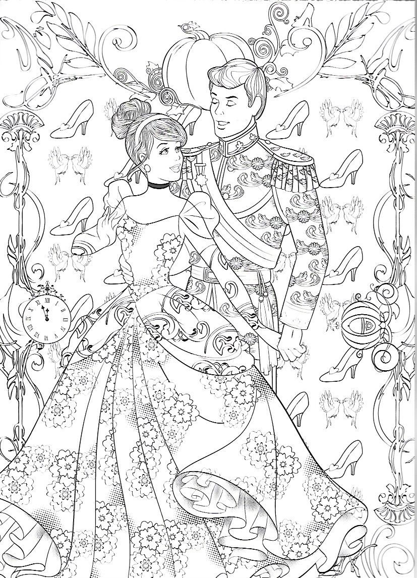 Cinderella and her Prince (With images)   Disney coloring ...   colouring pages for adults disney