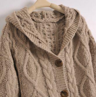 Light Coffee Hooded Long Sleeve Cardigan Sweater - Sheinside.com ...