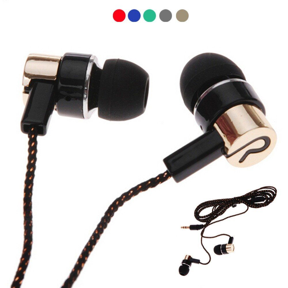 1 1m Wired Earphones Jack Standard Noise Isolating Reflective Cloth Line 3 5mm Stereo In Ear Earphone Earbuds Without Mic Headphones Earbuds Earphone