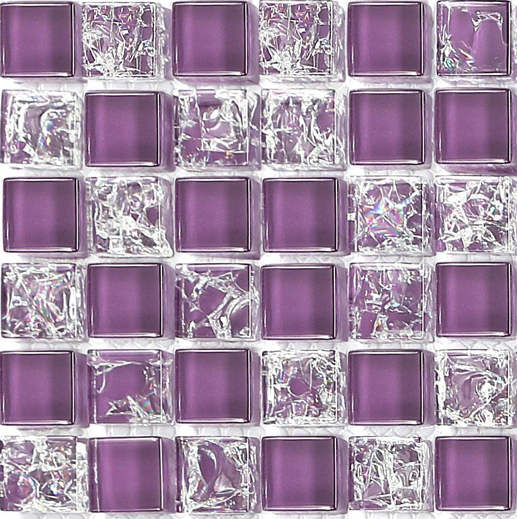 10x10cm Sample Purple Crackle Plain Mix Glass Mosaic Tiles Sheet
