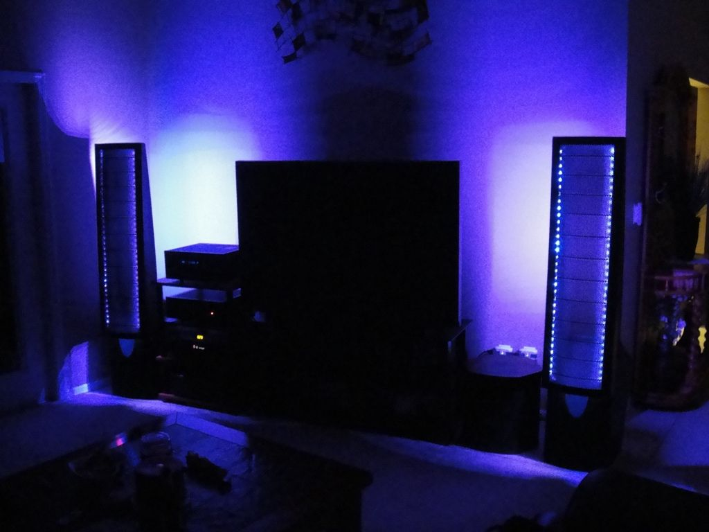 Color changing LED flexible strips for a home entertainment center