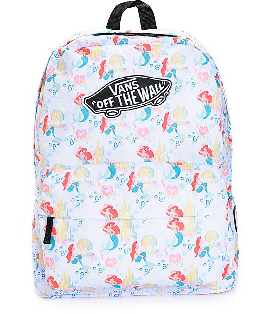 47050de0acc7e Keep your dinglehoppers and snarfblatts organized and secure in iconic  style with this Disney x Vans colab backpack that features Ariel from The  Little ...