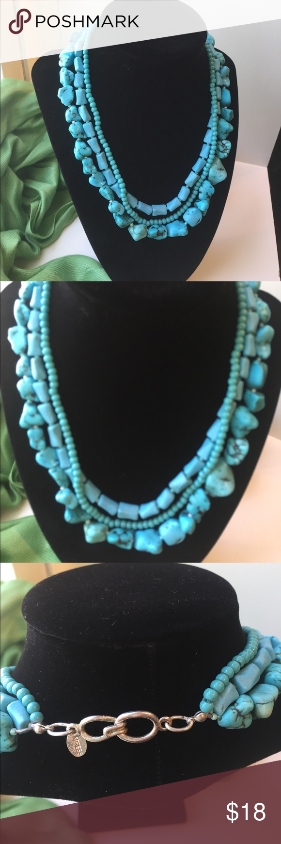 "EXPRESS TURQUOISE NECKLACE EUC • EXPRESS TURQUOISE NECKLACE • 3 STRANDS OF DIFFERENT SHAPES OF TURQUOISE • NECKLACE DROP MEASURES 8.5"" • Express Jewelry Necklaces"