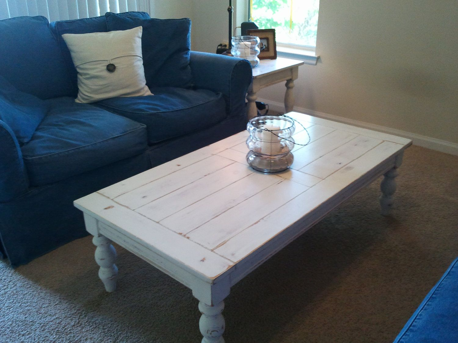 white distressed coastal coffee table by 1nightstand on etsy 23500 via etsy - Distressed Cafe Decor