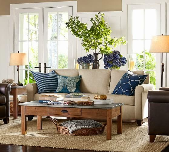 Pottery Barn Living Room With Carpet And Decorative Plant: Love The Colors!! Taupe, Linen, Sage